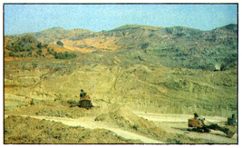 The open pit mine at the deposit of the bentonites